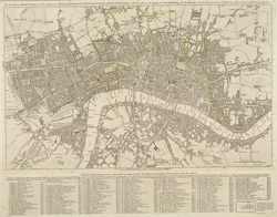 The London directory, or a new & improved plan of London, Westminster & Southwark with the adjacent country, the new buildings, the new road and the late alterations by opening of new streets, & widening of others. 1799